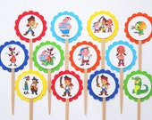 Jake And The Neverland Pirates Cupcake Toppers . Set of 12 . Never Land . Pirate Birthday Party