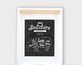 Butchers Selection Pork Cuts - Meat Chart - Chalkboard Style Print - Wall Art 8x10, Print, House Warming, Engagement, Anniversary Gift