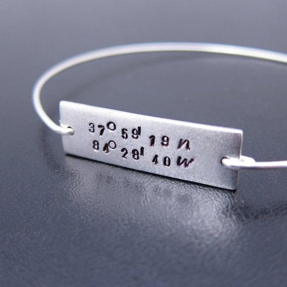 coordinate bracelet coordinate jewelry gps coordinates gift