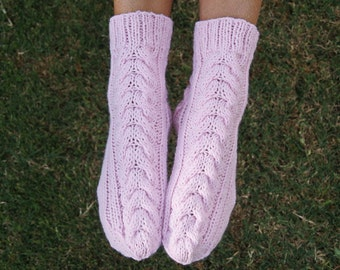 Knit socks pink cable knit girls socks bedsocks gift for her women's gift under 35 handmade gift Easter gift for friend warm socks aran