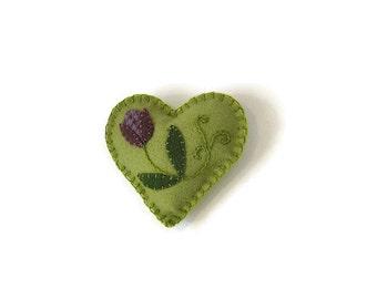 Heart embroidered felt ornament green purple flower
