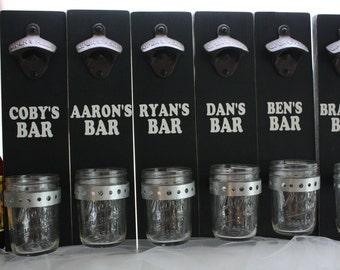 Groomsmen Wedding Party Gift Wall Mount Bottle Opener with Mason Jar Cap Catcher--(Set of 6)-