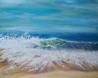 beach oil painting shore seascape landscape wave waves original ocean tide blue salt water sand tide crashing art 14x18 - Atlantic Median