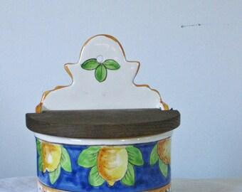 Vintage Italian Pottery Salt Box Colorful Ceramic Yellow