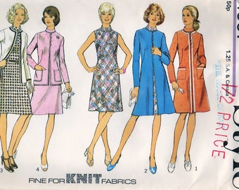 70s Misses Coat or Jacket and Dress Style 4501 UNCUT Sewing Pattern Size 14, Bust 36