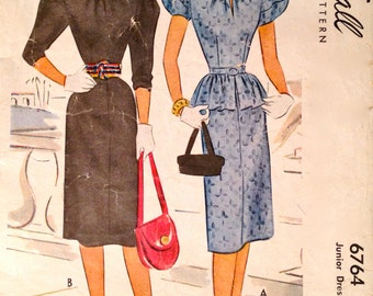40s Slim Skirt Dress and Overblouse Vintage Sewing Pattern McCall 6764, Size 15, Bust 33