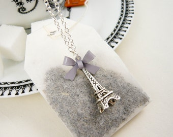 Eiffel Tower Necklace - Gray