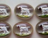 SALE 10 for 10 vintage reverse painted setter dog jewelry findings