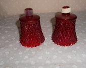Ruby Red Votive Candle Cups Diamond Cut Glass Red