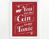 Gin and Tonic Print, 9 x 12 Hand Printed - Pick Your Color