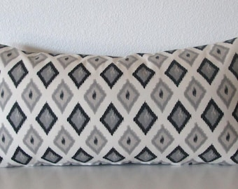 Grey and black ikat diamonds decorative pillow cover - Premier Prints Carnival Onyx Natural - ikat accent pillow