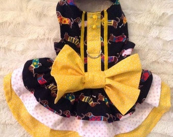 Dog Harness Dress with Dachshunds XS