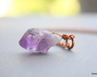February Birthstone Amethyst Gemstone Necklace Raw Nugget Purple Stone Handmade Jewelry