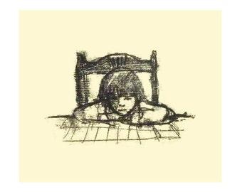 Illustration, Download, Digital Print, Printable,Wall Decor, Print, Illustration Print, Girl Drawing, Ink Drawing, Light yellow, Monotype