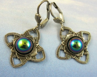 Green Dangle Earrings, Silver Flower Filagree, Art Deco Jewelry art deco earrings