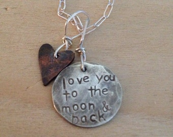 love you to moon & back necklace