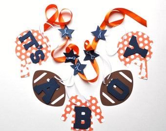 Football baby shower decorations orange and navy blue it's a boy banner by ParkersPrints on Etsy