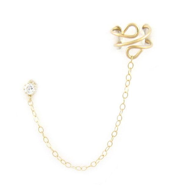Cubic Zirconia Gold Filled Plain Cuff Earring
