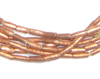 130 Ethiopian Copper Beads - 8x2mm Tube Beads - African Beads - Metal Beads - Jewelry Making Supplies - Made in Ethiopia * (MET-TUB-CPR-236)