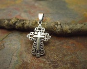 1 PC Sterling Silver Filigree Cross Pendant with Bail 28 x 15 mm