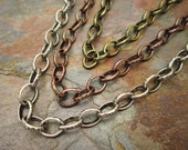 3FT Your Color Choice Antique Silver, Copper, or Brass Celtic Etched Oval Chain