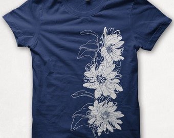 Womens Tshirt Daisies Fitted Flower Shirt Nature Screenprinted Graphic Tee - Navy