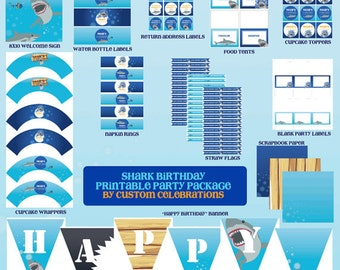 Shark Theme Printable Party Package - Printable File - Printable Shark Birthday Party - Sharks Party - Shark Birthday Party
