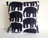 Elephants modern Scandinavian cushion cover Black and White