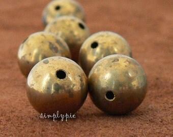 14mm Vintage Seamless Raw Brass Oxidized Metal Beads 6