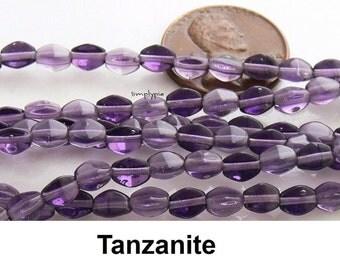 Tanzanite Czech Glass Beads 5x3mm Pinched - 50 Beads Per Strand