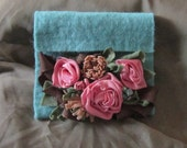 Felted Wool Clutch Purse by MontanaRosePainter,  Hand Made Flowers, Leaves and Fill