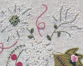 Jacobean flower wool applique hand embroidery pattern jac 027