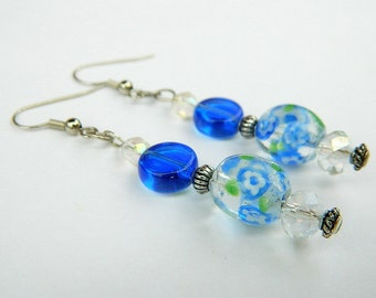 Yemaya Inspired Blue Beaded Fashion Dangle Earrings