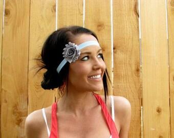 Turquoise Blue and White Chevron Print Elastic Headband w/ Heather Grey Shabby Chic Chiffon Flower