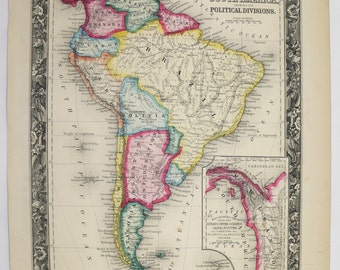 Original Antique Map of South America 1860 Mitchell Map, Latin American Decor Art Map, Unique Wedding Gift for Couple, Historical Map