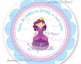 Happy Birthday Labels -Princess Sticker -Princess Birthday Stickers -Birthday Girl Label -Personalized Stickers -Custom Labels -Paper Labels