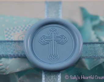 Cross Flexible Faux Wax Seals Peel and Stick for Baptismal, Christening, Dedication