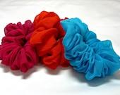 3 Silk Scrunchie Set in Hot Pink, Orange, and Turquoise, Hair Scrunchie, Silk Scrunchy, Gentle Hair Accessories