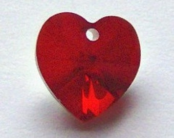10mm Swarovski crystal HEART style 6202 Pendant crystal beads SIAM AB (red) - 2 pieces