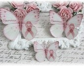 Survivor Breast Cancer Awareness Pink Ribbon Butterfly Embellishments for Scrapbooking or Cardmaking, Tag Art,  Mixed Media, Mini Albums