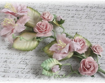 Shabby Pink  Rose and Lily Vine for Scrapbooking, Home Decor