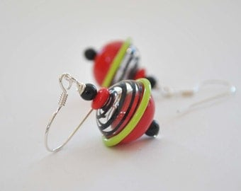 Red & Black Earrings, Hollow Glass Earrings, Glass Bead Earrings, Light Weight Earrings, Striped Earrings