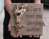 Giraffe Mom Mother Parent Baby Sculpture Quoted Christian Ceramic Tile
