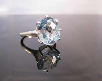 Huge Swiss Blue Checker Cut Topaz Ring