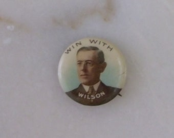 1912 Woodrow Wilson Political Pinback Button Tinted Whithead & Hoag NJ Celluloid President Button