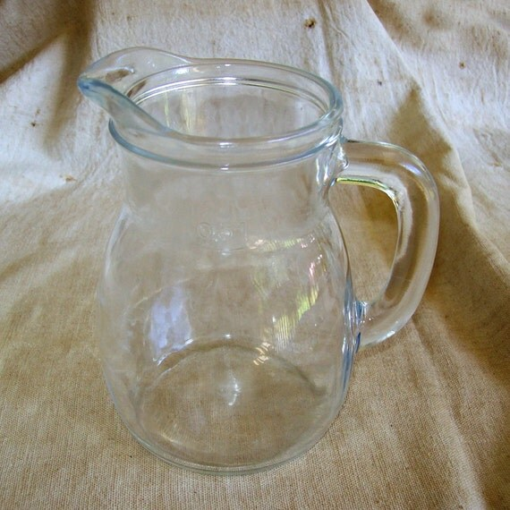 Italian Clear Glass Driveway: Vintage Italy Clear Glass Pitcher / Italian Glass 2 Cup
