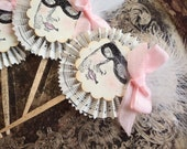 Masked Beauty. Twelve Vintage Style Paper CupcakeToppers, Appetizers, Desserts