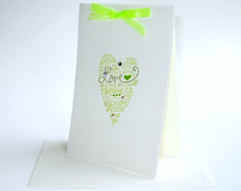 Luxury lime ivory love languages heart card ... blank ... romantic groom bride wedding card ... anniversary husband wife ... I Love You card