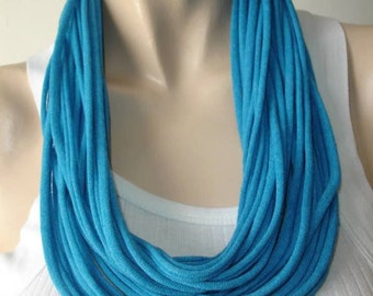 womens or mens blue aqua  shredded upcycled tshirt scarf , jersey scarf , jersey necklace , recycled tshirt necklace
