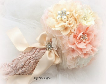 Brooch Bouquet, Rose, Blush Bouquet, Coral, Ivory, Tan, Beige, Champagne, Elegant Wedding, Vintage Style, Pearls,  Lace, Crystals